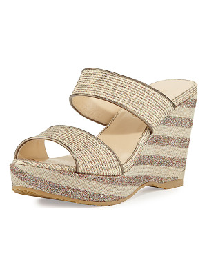 Jimmy Choo Parker Striped 100mm Wedge Sandal