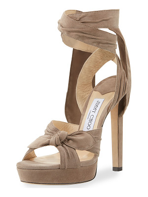 Jimmy Choo Vixen Suede Ankle-Wrap 130mm Sandal