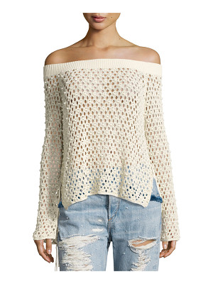 Jonathan Simkhai Cage Pearly-Beaded Off-the-Shoulder Top