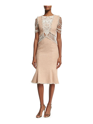 Jonathan Simkhai Collection Boucle Flounce-Hem Dress with Beaded Lace