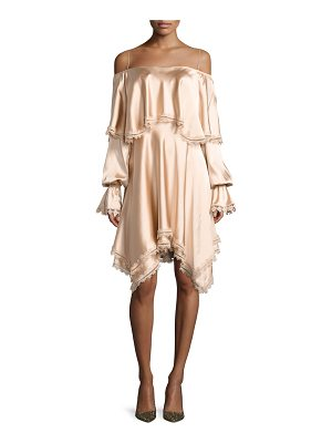 JONATHAN SIMKHAI Off-The-Shoulder Long-Sleeve Fluid Sateen Short Dress