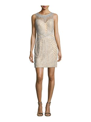 JOVANI Beaded Strapless Illusion Cocktail Dress