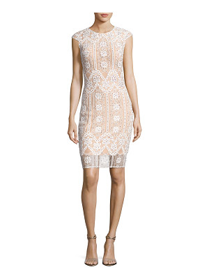 Jovani Cap-Sleeve Sequined Lace Cocktail Dress