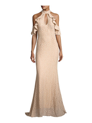 JOVANI Cold-Shoulder Embellished Lace Evening Gown