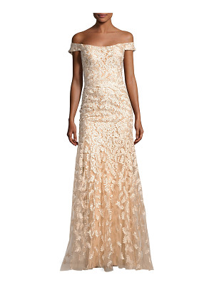 JOVANI Off-The-Shoulder Tulle Leaf Gown