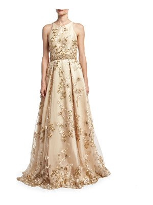 JOVANI Sleeveless Embroidered Cutout-Back Gown