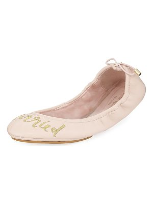 KATE SPADE NEW YORK Gwen Tie Leather Ballerina Flat