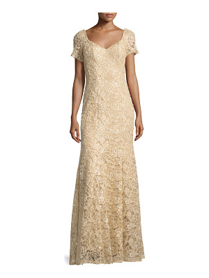 La Femme Short-Sleeve Sequined Lace Gown