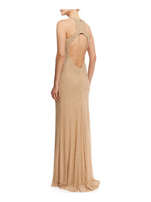 LA FEMME Sleeveless Studded Open-Back Column Gown