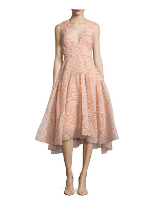 LELA ROSE Minnow-Jacquard V-Neck Dress