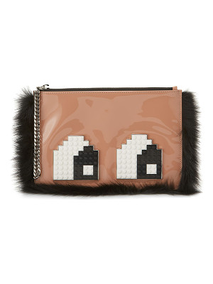 LES PETITS JOUEURS Envelope Eyes Leather Clutch Bag