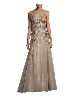 LIANCARLO Floral-Embroidered Illusion Gown