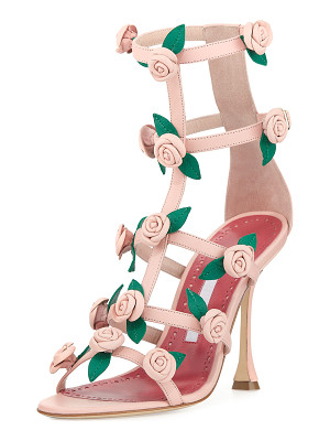 Manolo Blahnik Doit Rosette Caged Sandals