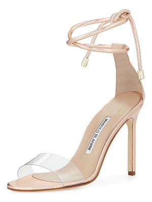 Manolo Blahnik Estro Leather & PVC Ankle-Wrap Sandals