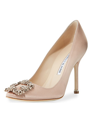 Manolo Blahnik Hangisi Crystal-Buckle Satin 105mm Pump