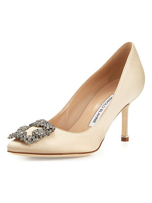 Manolo Blahnik Hangisi Crystal-Buckle Satin 70mm Pump