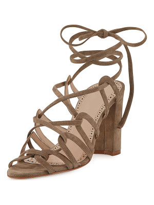 MANOLO BLAHNIK Jena Suede Lace-Up Sandal
