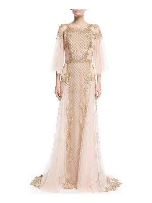 Marchesa Metallic Embroidered Tulle-Sleeve Gown