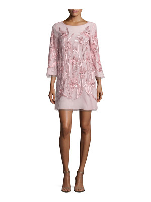 MARCHESA NOTTE 3/4-Sleeve Beaded Floral Cocktail Dress