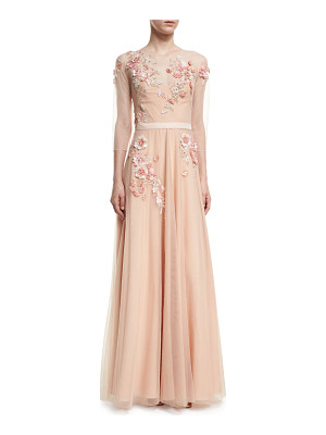 Notte by Marchesa 3/4-Sleeve Beaded Tulle Gown