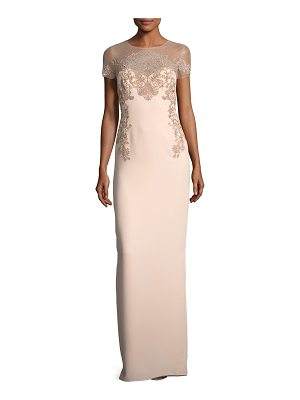 Notte by Marchesa Crepe Evening Gown w/ Illusion & Embroidery