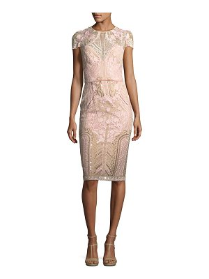 NOTTE BY MARCHESA Embroidered Lace Cap-Sleeve Sheath Cocktail Dress