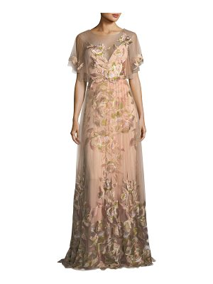 NOTTE BY MARCHESA Embroidered Tulle Flutter Sleeve Evening Gown