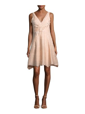 NOTTE BY MARCHESA Sleeveless V-Neck Crinkled Chiffon Cocktail Dress