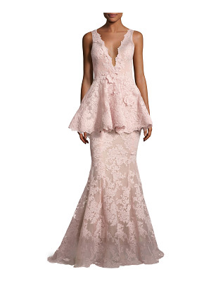 Marchesa Sleeveless Plunging V-Neck Peplum Gown
