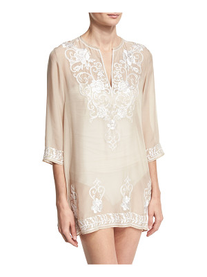 MARIE FRANCE VAN DAMME Gigi Embroidered Silk Chiffon Tunic Coverup