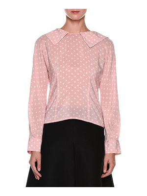 MARNI Long-Sleeve Zip-Back Silk Blouse