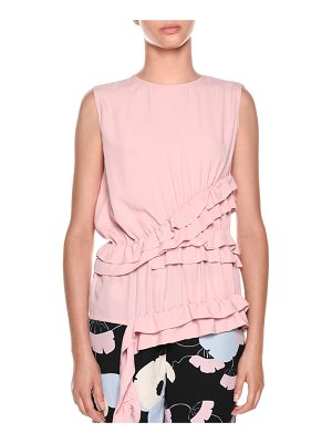 Marni Sleeveless Ruffled-Waist Silk-Woven Blouse