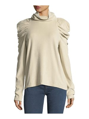 M.i.h Jeans Turtleneck Pouf-Shoulders Long-Sleeve Top