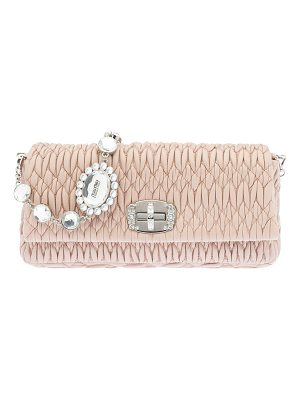 MIU MIU Matelasse Leather Crystal-Lock Shoulder Bag