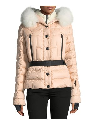 MONCLER Beverly Belted Quilted Puffer Coat With Fur Hood