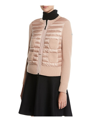 Moncler Maglia Combo Waffle-Knit Puffer Jacket