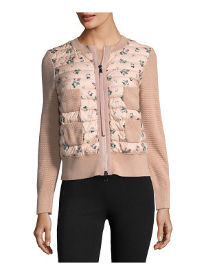 MONCLER Maglia Floral-Printed Knit Jacket W/ Puffer