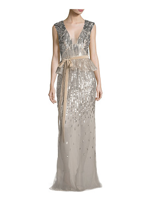 MONIQUE LHUILLIER BRIDESMAIDS Sequined V-Neck Peplum Gown With Velvet Belt