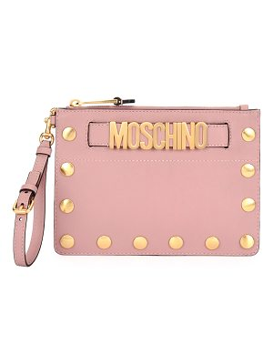 MOSCHINO Studded Faux-Leather Wristlet Clutch Bag