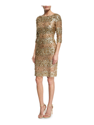 NAEEM KHAN Beaded 3/4-Sleeve Fitted Cocktail Dress
