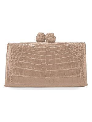 NANCY GONZALEZ Crocodile Knot-Top Clutch Bag