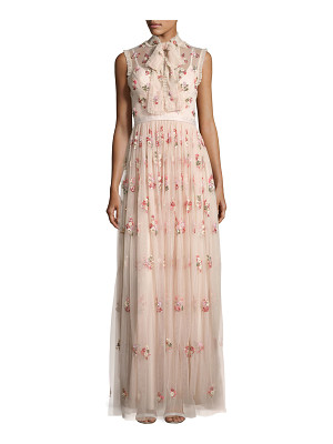 Needle & Thread Ditsy Floral Bow-Tie Tulle Gown