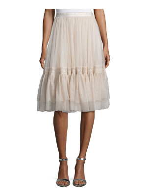 Needle & Thread High-Waist Tulle Skirt W/Lace Trim
