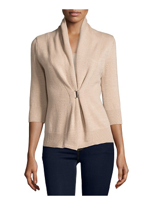 Neiman Marcus Cashmere Collection 3/4-Sleeve Cashmere & Lurex® Half-Sleeve Buckle Cardigan