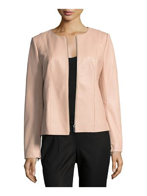 NEIMAN MARCUS LEATHER COLLECTION Center-Zip Leather Jacket