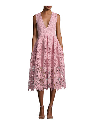NICHOLAS Bellflower Guipure Lace Sleeveless V-Neck Ball Dress