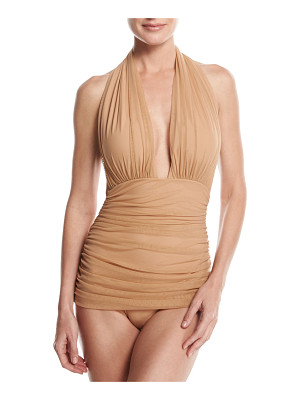 Norma Kamali Bill Ruched-Mesh Halter Maillot Swimsuit