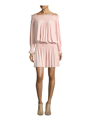 NORMA KAMALI Off-The-Shoulder Smocked-Neck Peasant Dress