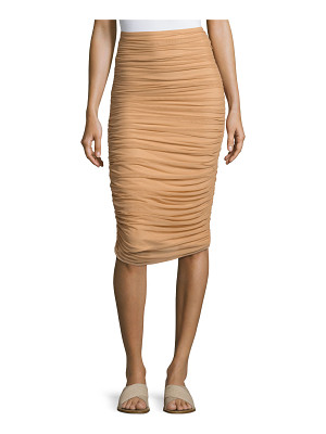 Norma Kamali Shirred Knee-Length Swim Skirt