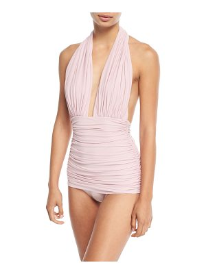 NORMA KAMALI Tara Mio Shirred Solid One-Piece Swimsuit